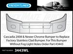 Freightliner Cascadia 2008 & Newer Chrome Bumper Factory Stainless Replacement
